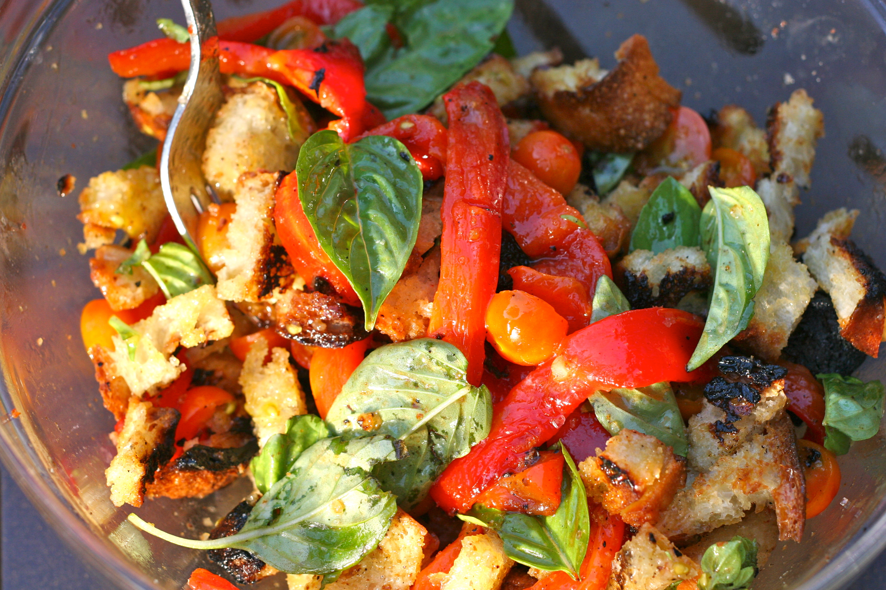 Grilled Panzanella with Roasted Red Pepper, Sungold Tomatoes, and ...